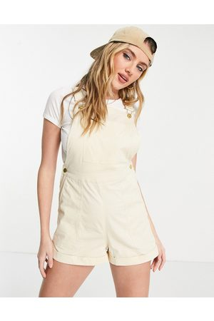 ASOS Twill dungaree playsuit in ivory-White