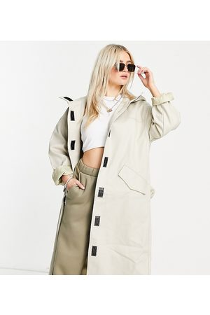 ASOS Petite hooded trench coat in stone-Neutral