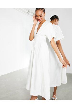 ASOS Pleat waist midi dress in white