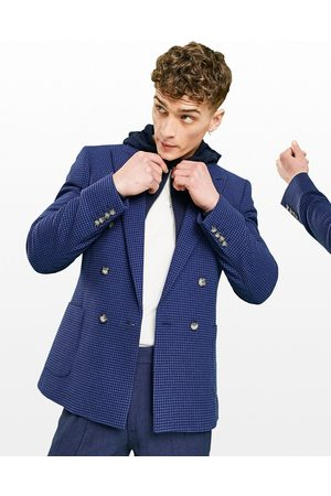 ASOS Super skinny double breasted wool mix blazer with puppy tooth in navy-Grey