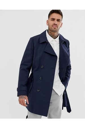 ASOS Shower resistant double breasted trench coat in navy