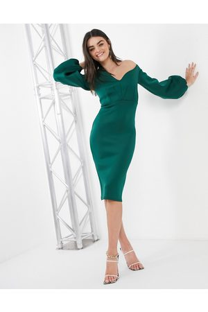 ASOS Fallen shoulder midi dress with balloon sleeve in forest green