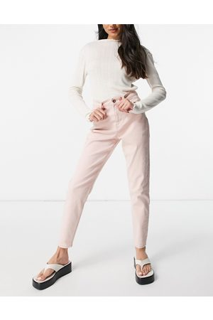 Pieces Senhora Jeans - High waisted mom jean in pastel pink