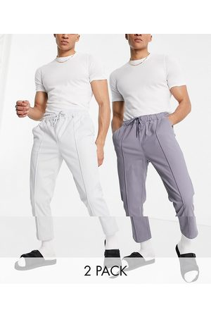 ASOS 2 pack slim chinos with elastic waist and pin tuck in stone and grey save-Multi