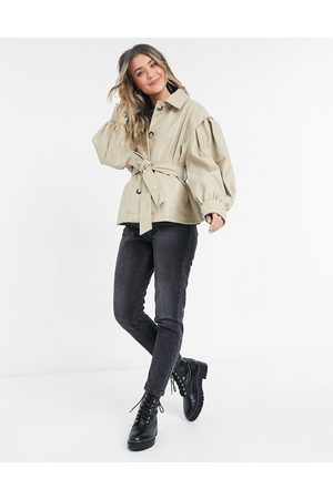 ASOS Faux leather jacket with sleeve drama in putty-Cream
