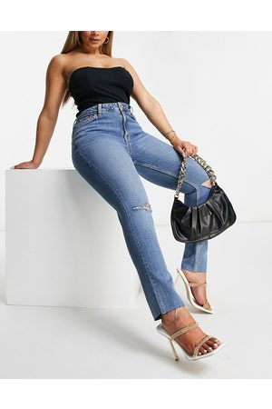 ASOS Hourglass mid rise vintage 'skinny' jeans in midwash with rips-Blue