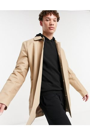 ASOS Shower resistant single breasted trench coat in stone-Neutral