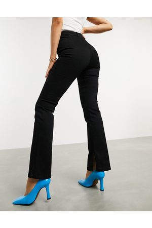 ASOS High rise 'Y2K' stretch flare jeans in black