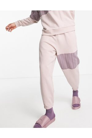 ASOS Co-ord oversized joggers with numerals monogram panel in dusty pink