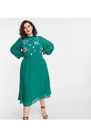 ASOS ASOS DESIGN Curve high neck pleated long sleeve skater midi dress with embroidery in forest green