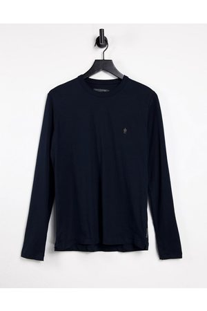 French Connection Homem Sweatshirts de Manga larga - Long sleeve top with logo in navy-Blue
