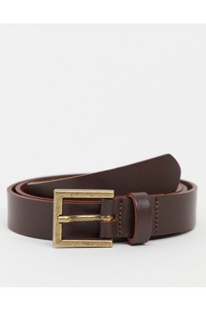 ASOS DESIGN Leather skinny belt in brown with gold buckle