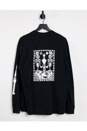 Nike Mock neck graphic long sleeve t-shirt in black
