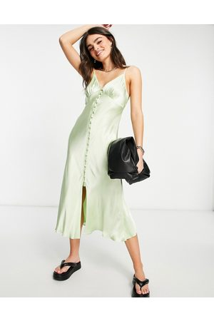 Ghost Maddison sleeveless satin slip dress with button detail in mint green