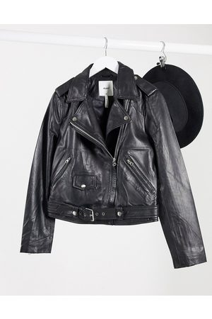 Object Real leather jacket in black
