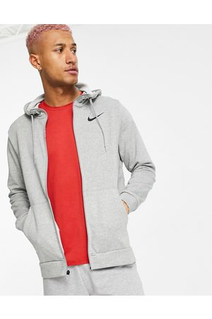 Nike Dri-FIT fleece full zip hoodie in light grey