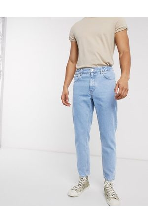 ASOS DESIGN Classic rigid Jeans in light stone with elasticated waist-Blue