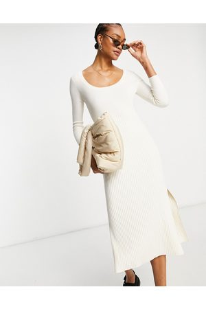 & OTHER STORIES Senhora Vestidos Casual - Ecovero long sleeve knitted midi dress in off white