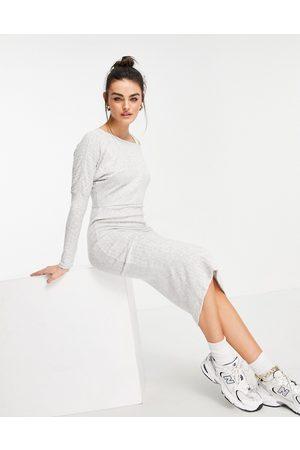River Island Asymmetric cosy rib knit midi dress in grey