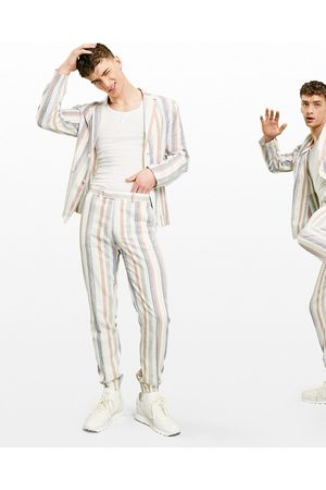 ASOS Soft tailored linen slim suit trousers multi stripe in white and blue