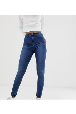 Noisy May Callie high waisted skinny jeans in mid blue wash-Black