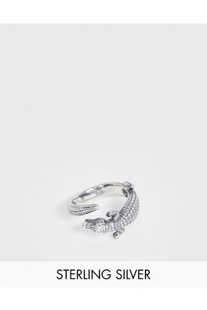 ASOS Sterling silver ring with crocodile design in silver