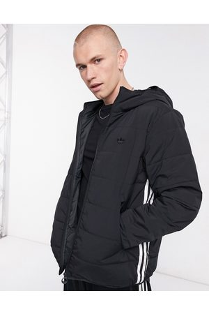 adidas Three stripe padded jacket in black