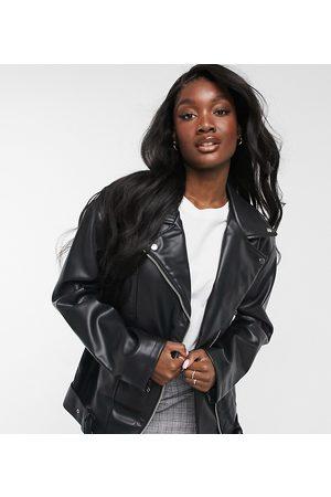 ASOS DESIGN Tall longline oversized faux leather biker jacket in black