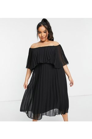 ASOS ASOS DESIGN Curve pleated bandeau midi dress with double layer in Black