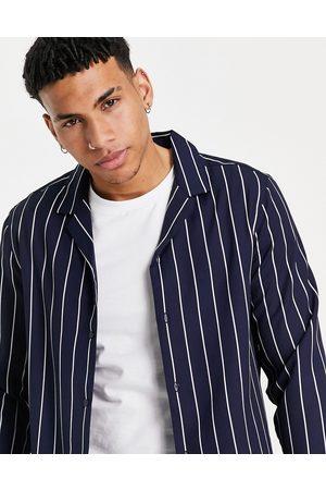 ASOS Regular fit shirt in navy stripe