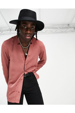 ASOS Regular shirt in textured satin with notch neck in pink