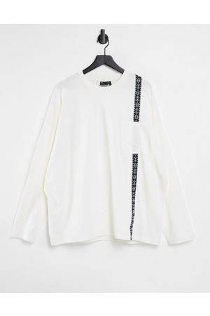 ASOS Oversized long sleeve t-shirt in white with pocket and tape