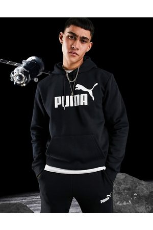 PUMA Essentials large logo hoodie in black