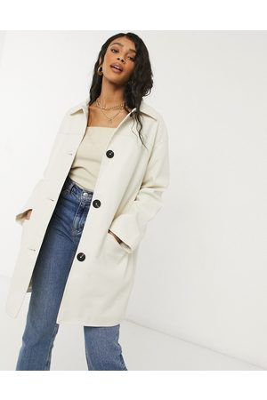 ASOS Oversized faux leather quilt lined shacket in cream-White