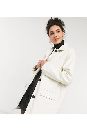 ASOS ASOS DESIGN Tall oversized faux leather quilt lined shacket in cream
