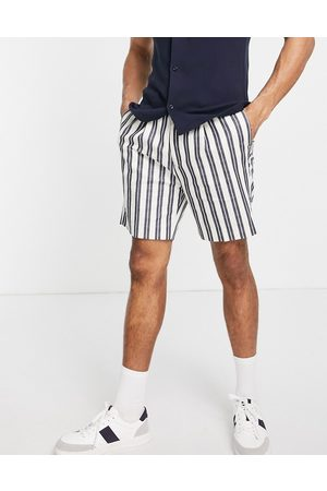ASOS Tapered smart shorts in white and navy stripe