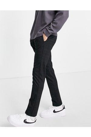 River Island Check jersey joggers in navy