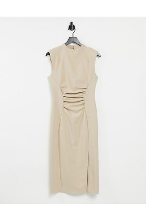 ASOS DESIGN High neck pencil midi dress with gathered waist and cap sleeve in soft camel-Neutral