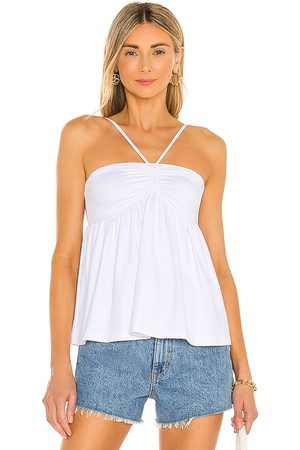 Susana Monaco Cinched Front Blouse in - White. Size L (also in XS, S, M).