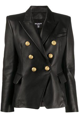 Balmain Senhora Casacos de Pele - Buttoned leather jacket