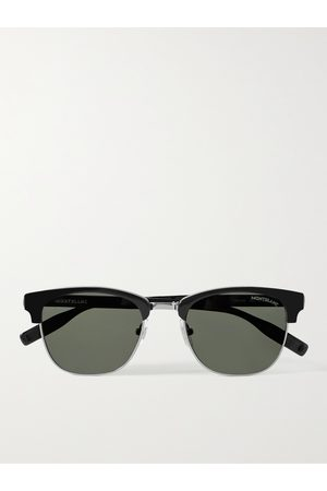 Mont Blanc D-Frame Acetate and Silver-Tone Sunglasses