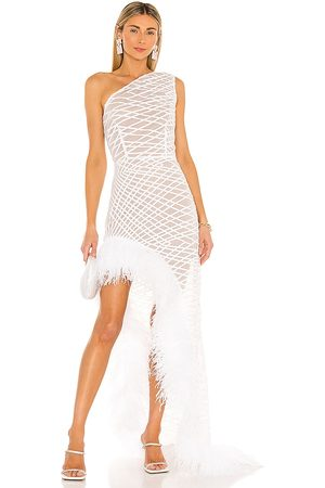 Bronx and Banco Lola Blanc Sheer Feather Gown in - . Size L (also in XS, S).