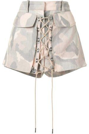 Dion Lee Senhora Calções - Ikat camouflage shorts