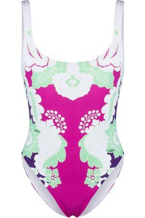 VALENTINO Senhora Fatos-de-banho - Botanical-print swimsuit
