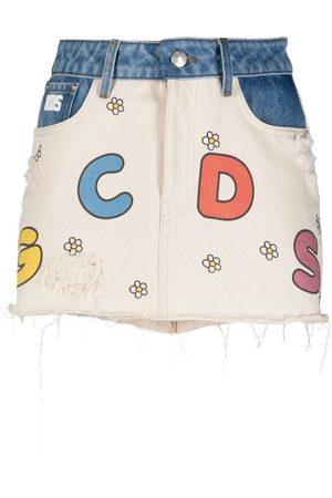 GCDS Senhora Saias de Ganga - Little Miss Sunshine denim skirt
