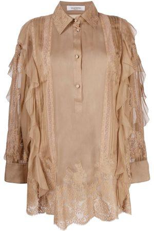 VALENTINO Senhora Blusas - Ruffle-trim silk blouse
