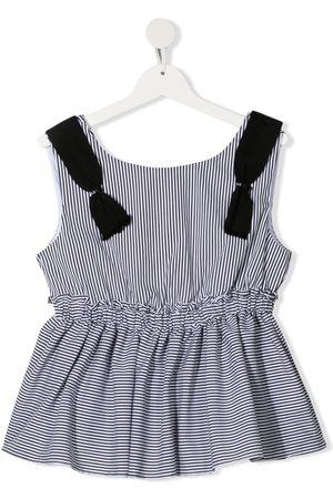 MONNALISA TEEN stripe print sleeveless blouse