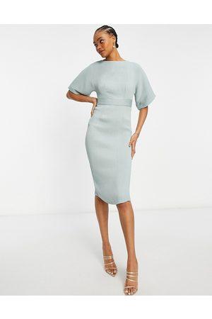 closet london Ribbed pencil mini dress in sage green-Blue