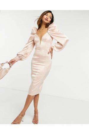 ASOS DESIGN Senhora Vestidos de Festa - Long sleeve quilted satin plunge wired bodycon midi dress in pale pink