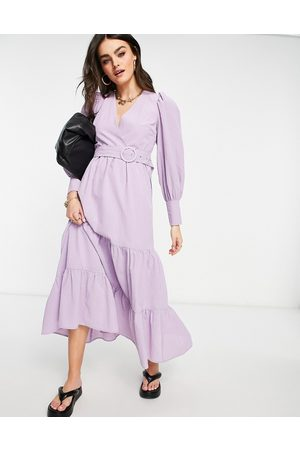 Y.A.S Senhora Vestidos Compridos - Maxi smock dress with belt detailing and tiered skirt in lilac-Purple